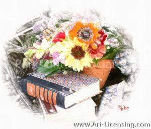 8533SRH-Sunflower Snapdragon Books in Summer