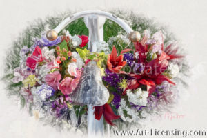 8649SRH-Summer Flowers in White Bicycle Stand