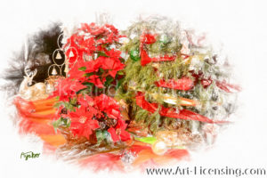 8682SRH-Christmas Tree and Red Poinsettia