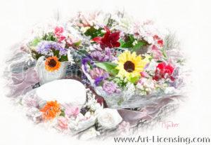 8773SRH-Sunflower and Summer flowers Bouquet