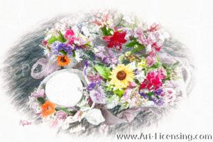 8798SRH-Sunflower and Summer flower arrangement