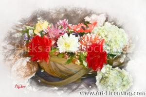 8959SRH-Dahlia and Hydrangea Basket Bouquet
