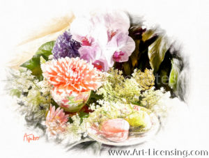 9058SRH-Dahlia, Orchids and Macaron
