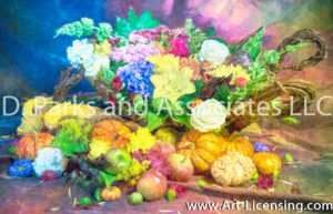 7379SArt-Harvest Flowers Pumpkins and Fruits