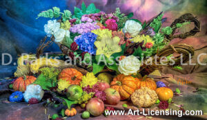 7379S-Harvest Flowers, Pumpkins and Fruits