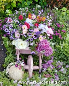 8421S-Spring Flowers on Wheelbarrow