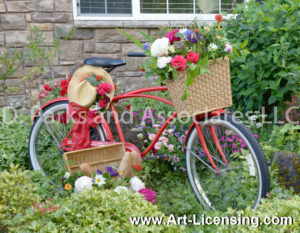 8622S-Spring Flowers on the Red Bicycle