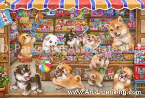 Shiba Inu in Old Japanese Candy Store-by Kayomi Harai