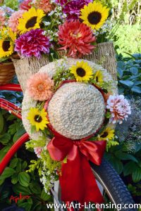 2430S-Dahlias and Sunflowers on Straw hat
