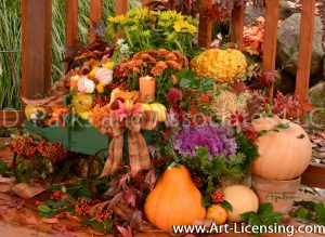 3288S-Cabbage Flower-Mums-Nanfdina domestica berries-Maple Leaves-Autumn setting