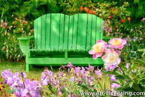 7075-Pink Peony, Iris and Green Chair Garden