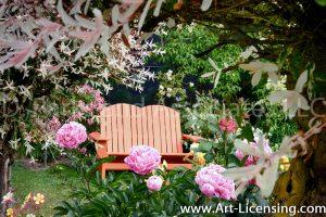 7308-Peonies and Orange Bench in the Garden