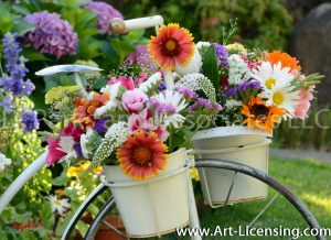 8596S-Sunflower and Summer Flowers on White Bicycle Stand