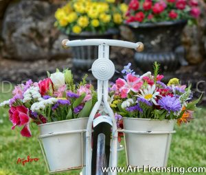 8632S-Summer Flowers on White Bicycle