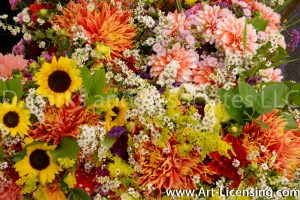 9953-Sunflowers and Dahlias Bouquet